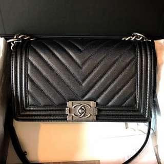 Authentic Chanel Medium Boy Chevron Caviar Rhw