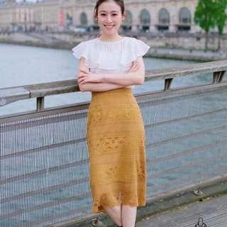 轉賣 我的巴黎小衣櫥 我的巴黎小生活 芥黃蕾絲裙