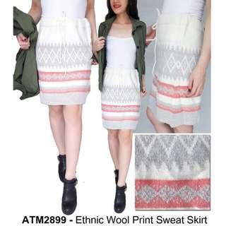 ATMOSPHERE Etnic Wool Print Sweat Skirt Ori Prem