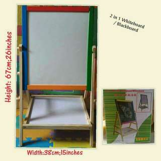 2 in 1 wooden whiteboard and blackboard