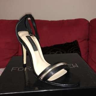 Black ankle strap heel Forever New