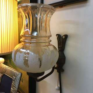 60s smoke glass brass arm wall lamp