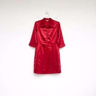 二手 紅色 亮面 洋裝