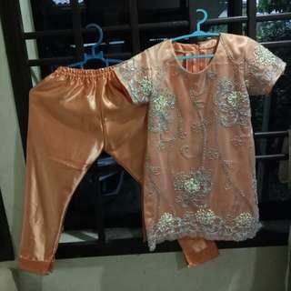 Baju set blouse+pant budak