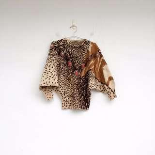 二手 豹紋 鑲珠 毛衣