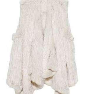 H Brand Fur Vest Chalk O/S
