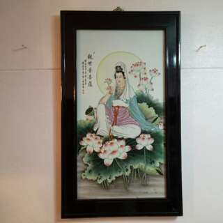 Collectibles Vintages Porcelain Painting Guanyin Moon Light  In Lotus Pond