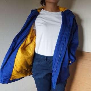 Blue yellow windbreaker jacket