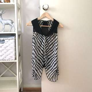 Zebra printed collared button up top
