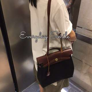 Hermes Vintage 罕有黑色x米白色替換袋 兩用復古中古袋 可當背包或側孭袋