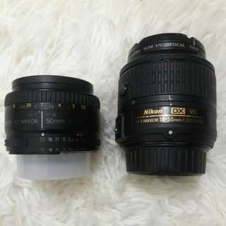 Nikon Nikkor 50mm and Nikkon 18-55mm (Price can nego!)
