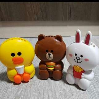 (INSTOCK) McDonald's Line Friends Handheld Fans - Cony/Sally/Brown
