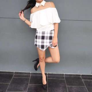 white top + new look gingham skort
