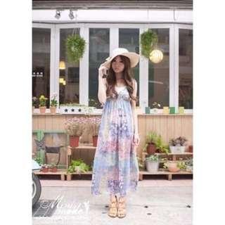 轉賣 MIHARA 正韓製 korea 夢幻女神煙燻及踝長版連衣裙鑲蕾絲長洋裝