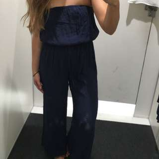 Navy blue glassons strapless jumpsuit size 8