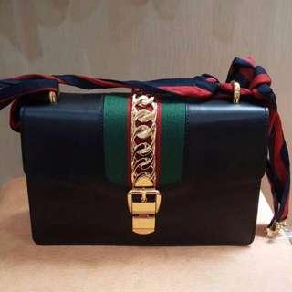 Fast sale! Jual rugi new gucci sylvie medium black complete set with receipt PI Nov 2017