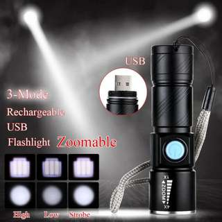 FREE DELIVERY BRAND NEW Torch Light Torchlight - LED 1000 Lm USB Rechargeable-BRAND NEW in BOX.