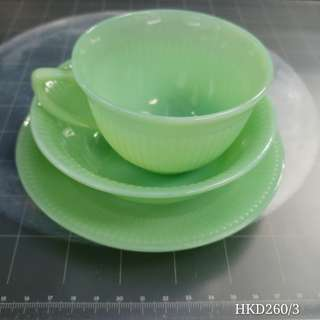 """Fire King Jadeite vintage 5"""" samll plate, cut & sauers Anchor Hocking, made in USA"""
