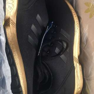 Rare Black and gold adidas zx flux