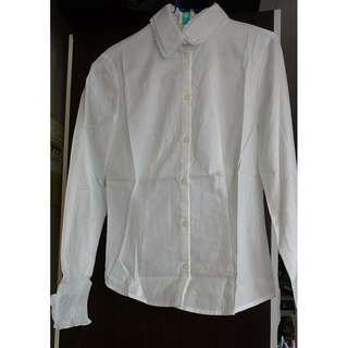 Stage of Playlord Women White Shirt Size 2 Ruffle Lace Office Lady