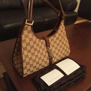 Original Gucci Jackie O Shoulder Bag Hobo Handbag in Brown GG Monogram Canvas n Leather Trim