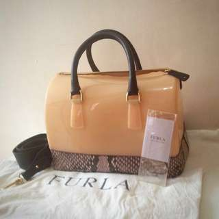 Furla Light Pink Snakeskin Candy Bag
