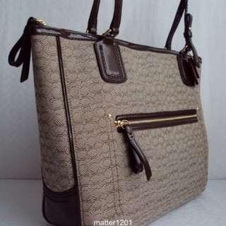 COACH 25051 POPPY Oxford  KHAKI/MAHOGANY Jacquard/Leather Tote Bag