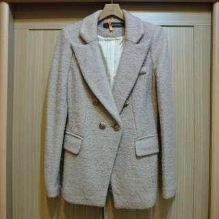 🚚 韓貨 藕粉色毛料西裝大衣外套