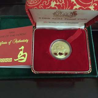 1990 Singapore Year Of Horse $500 1/2 Oz Gold Coin