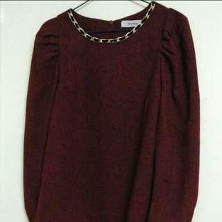 (New) Made In Korea 高貴公主袖紅色上衣