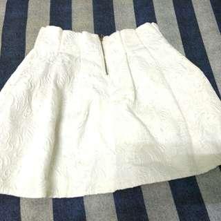 白色腰打折顯瘦澎澎裙