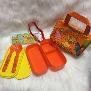小熊維尼食物盒二層連餐具🍴+ 保溫袋