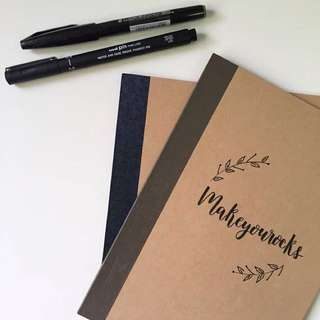 personalised brush lettered notebooks!