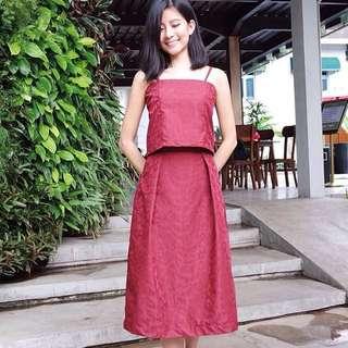 Jacquard Red Set (Top & Skirt)