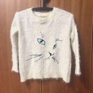 貓咪毛衣 白毛衣