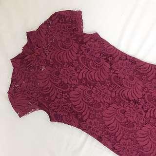 Red lace cheongsam