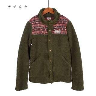 日本TITICACA羊羔絨保暖毛料外套 中層 保暖 寒流 毛外套 立領外套 羊毛外套 復古夾克 古著外套 圖騰 北歐