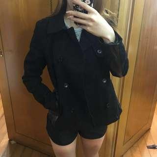 H&M Black x Faux Leather Short Coat