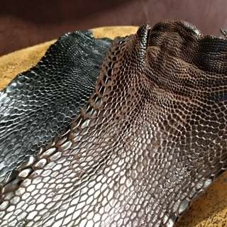 Eagle leg leather. Brown or black.