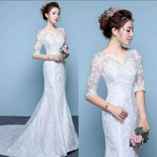 婚紗(全新New)魚尾修腰顯瘦綁帶一字肩婚紗 Size:M