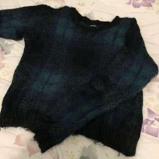 日本emoda sweater 格仔冷衫