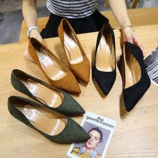 歐美麂皮貓跟尖頭鞋