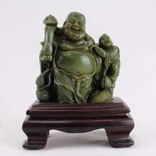 Green Stone Laughing Buddha