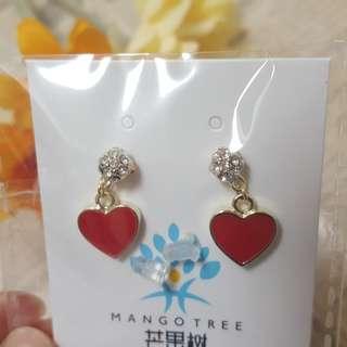 韓國ins甜美單鑽紅色愛心耳環