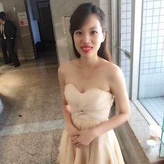 香檳色抹胸絲質婚禮晚宴燕尾小禮服