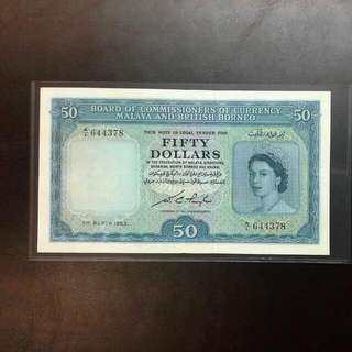 Malaya $50 Qeii A/1 Prefix Ef Condition,  1953