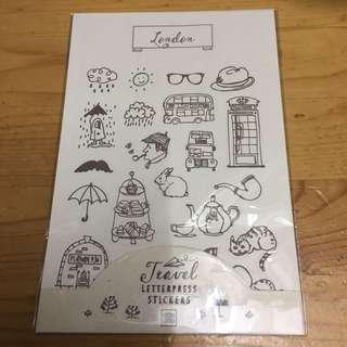 只限郵寄 包平郵 全新 原價$25 現售$15 PageOne貼紙 schedule 手帳 法國風情 Travel Letterpress Stickers