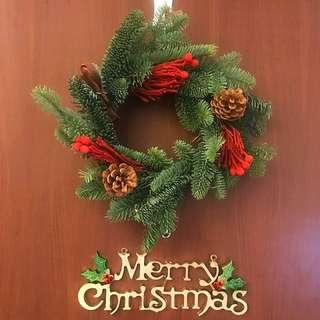 聖誕 花圈 貴族松 Xmas Door Deco