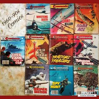1960-90s Commando Comics. Good condition, 10pcs for $18 offer, sms 96337309 for Fast Deal.