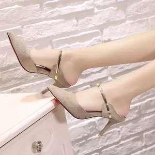 Women lady Suede Metal high heel sandals